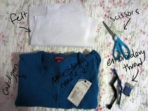 3 bước đơn giản trang trí áo len dễ thương 1