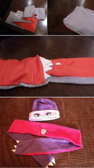 Ngộ nghĩnh bộ khăn mũ vải dạ cho mùa đông ấm áp 8