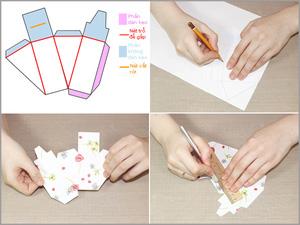 3 bước đơn giản gấp hộp quà hình bánh gato xinh xắn 3