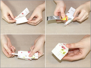 3 bước đơn giản gấp hộp quà hình bánh gato xinh xắn 4