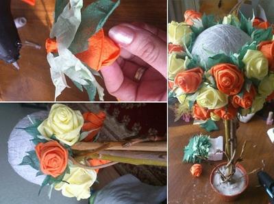 Làm hoa hồng giấy tuyệt đẹp từ giấy ăn 9
