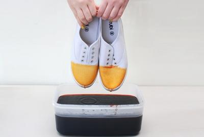 Tự nhuộm giày vải màu loang sành điệu, độc đáo 6