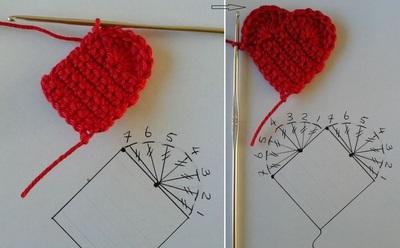 Hướng dẫn móc len hình trái tim siêu xinh mà dễ dàng 6