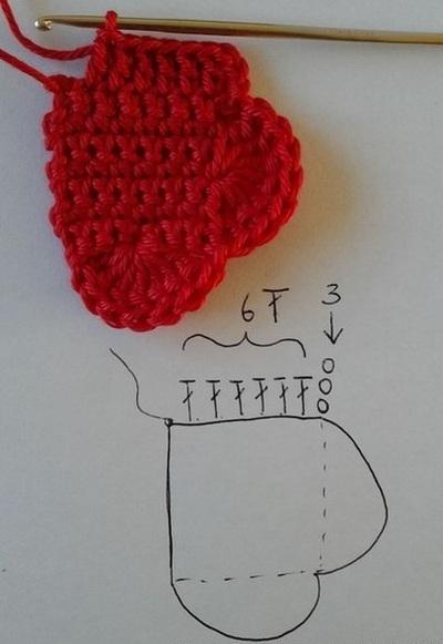 Hướng dẫn móc len hình trái tim siêu xinh mà dễ dàng 8