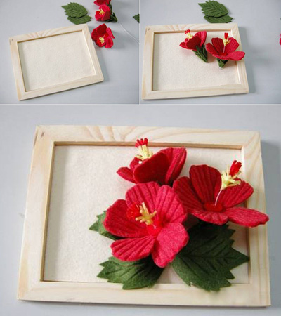 Trang trí khung tranh với nhành hoa đỏ bắt mắt 15
