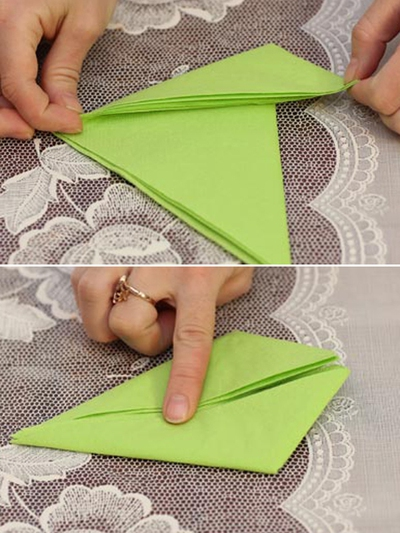 Cách gấp khăn ăn hình chiếc thuyền đẹp mắt 7