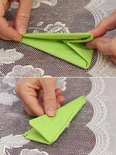 Cách gấp khăn ăn hình chiếc thuyền đẹp mắt 11