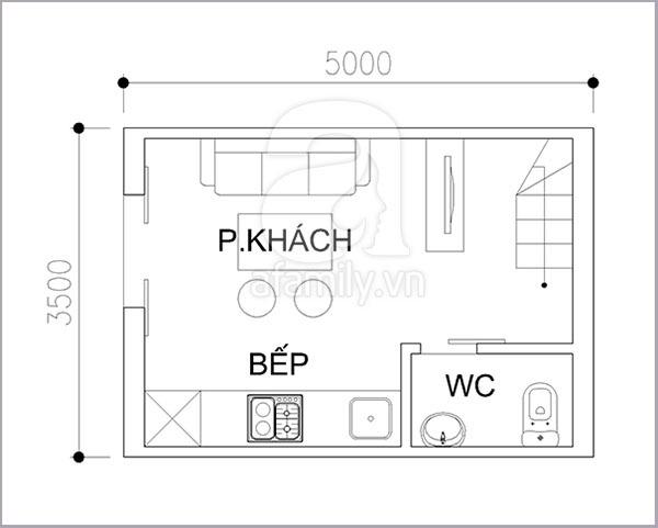 Thiết kế khoa học cho nhà diện tích nhỏ 17 mét vuông 1