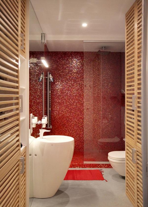 can ho 56m voi nhung mang phoi mau do tran day nang luong Nhấn nhá không gian sống với màu đỏ ấn tượng