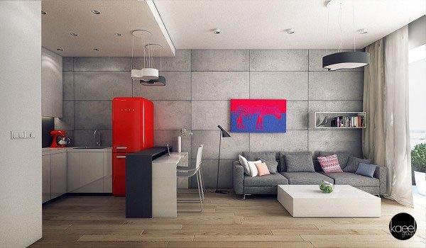 mẫu phòng khách thiết kế mở tuyệt đẹp cho căn hộ chung cư nhỏ 1