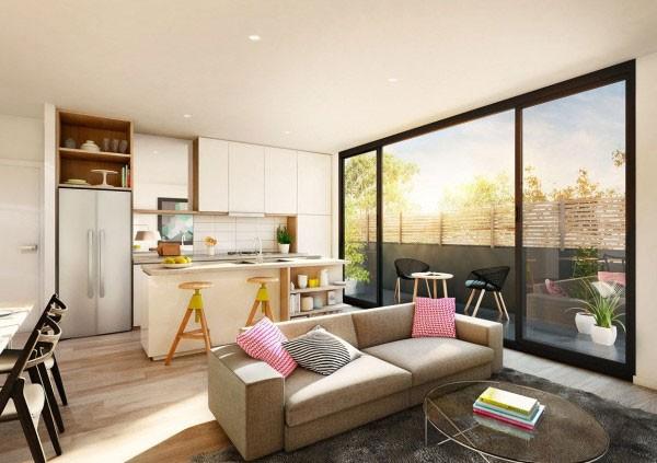 mẫu phòng khách thiết kế mở tuyệt đẹp cho căn hộ chung cư nhỏ 7