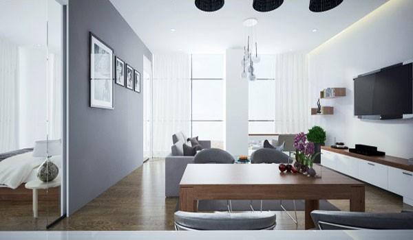 mẫu phòng khách thiết kế mở tuyệt đẹp cho căn hộ chung cư nhỏ 11