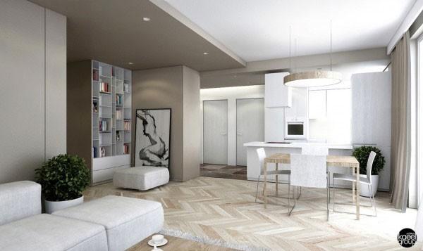 mẫu phòng khách thiết kế mở tuyệt đẹp cho căn hộ chung cư nhỏ 13