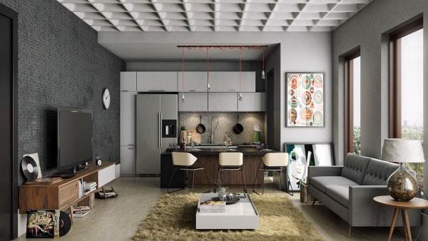 mẫu phòng khách thiết kế mở tuyệt đẹp cho căn hộ chung cư nhỏ 2