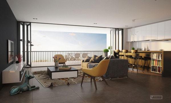 mẫu phòng khách thiết kế mở tuyệt đẹp cho căn hộ chung cư nhỏ 14