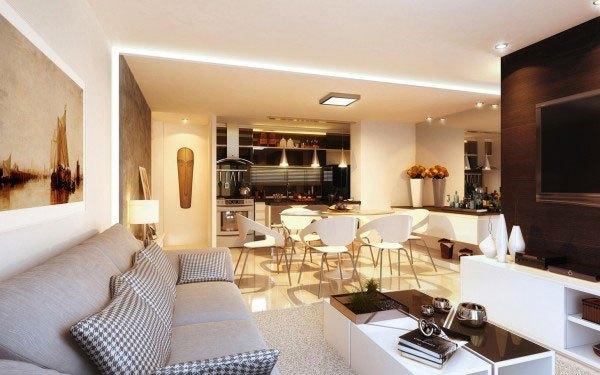 mẫu phòng khách thiết kế mở tuyệt đẹp cho căn hộ chung cư nhỏ 4