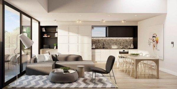 mẫu phòng khách thiết kế mở tuyệt đẹp cho căn hộ chung cư nhỏ 6