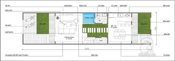 Tư vấn thiết kế và bố trí nội thất cho nhà ống có 2 khoảng vườn xanh 1