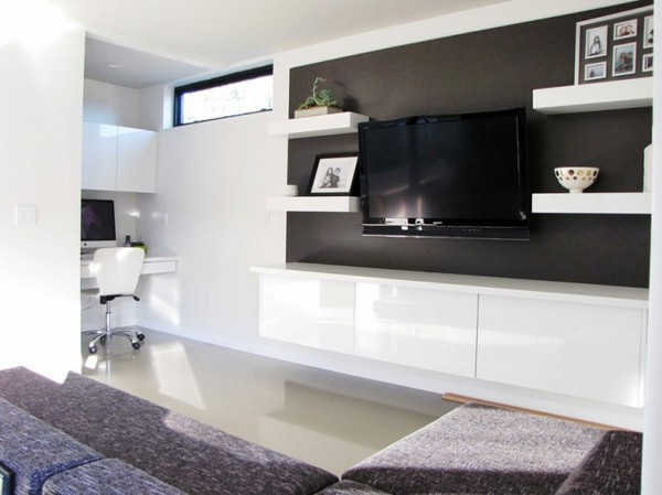 20 thiết kế kệ tivi treo tường cực đẹp 17