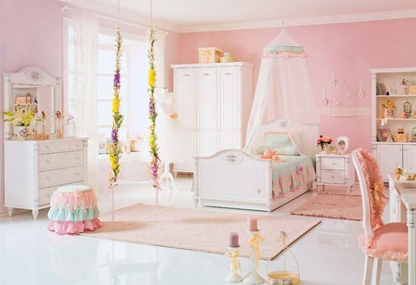 Mẫu phòng ngủ màu hồng đẹp như cổ tích cho bé gái 1