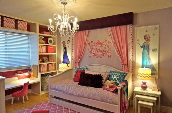 Mẫu phòng ngủ màu hồng đẹp như cổ tích cho bé gái 8