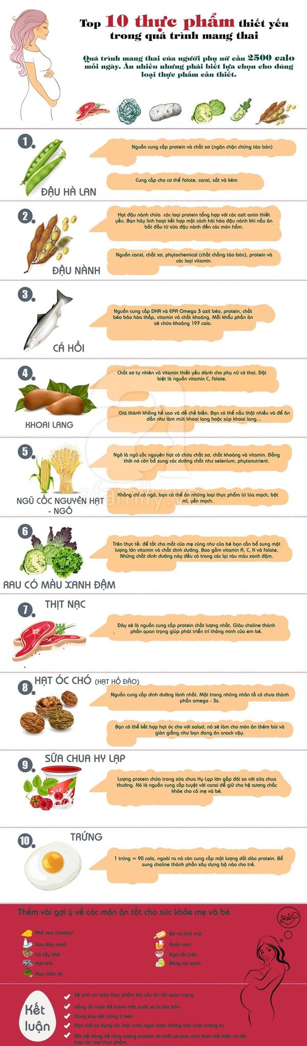 Top 10 thực phẩm thiết yếu mẹ bầu không thể bỏ qua  1