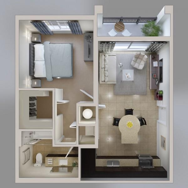 Ngắm 6 thiết kế căn hộ chung cư 1 phòng ngủ tuyệt đẹp 3