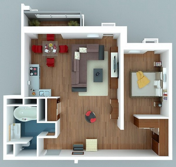 Ngắm 6 thiết kế căn hộ chung cư 1 phòng ngủ tuyệt đẹp 6