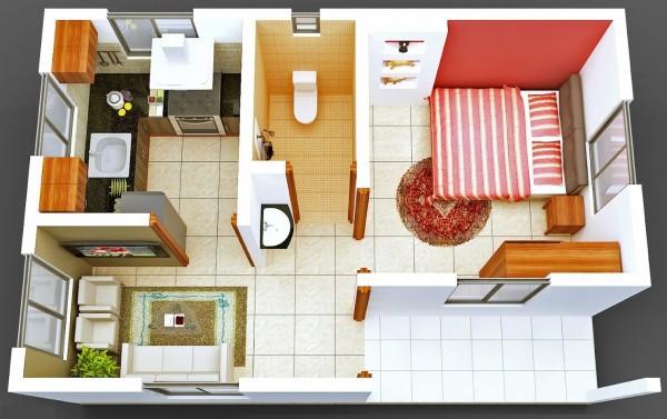 Ngắm 6 thiết kế căn hộ chung cư 1 phòng ngủ tuyệt đẹp 5