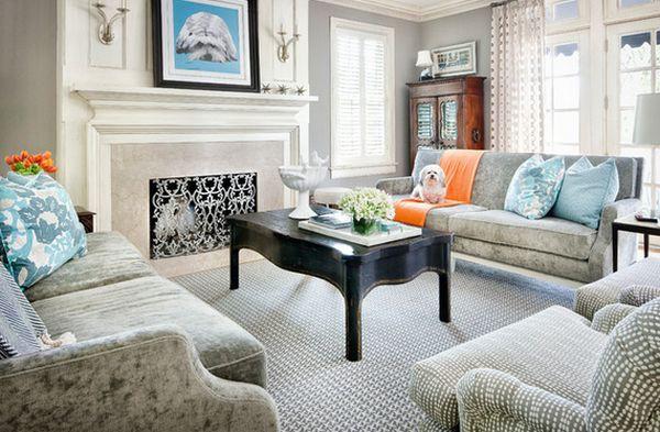 Phòng khách đẹp với bàn nước màu đen 2