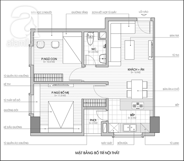 Tư vấn bố trí nội thất căn hộ 50m² cho gia đình 4 người 2
