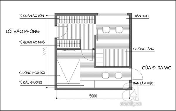 Tư vấn thiết kế phòng ngủ 25m² cho gia đình 4 người 1