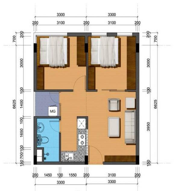 Tư vấn bố trí nội thất tối ưu cho căn hộ  47,7m² 1