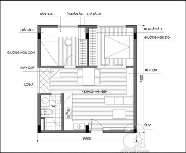 Tư vấn bố trí nội thất tối ưu cho căn hộ  47,7m² 2
