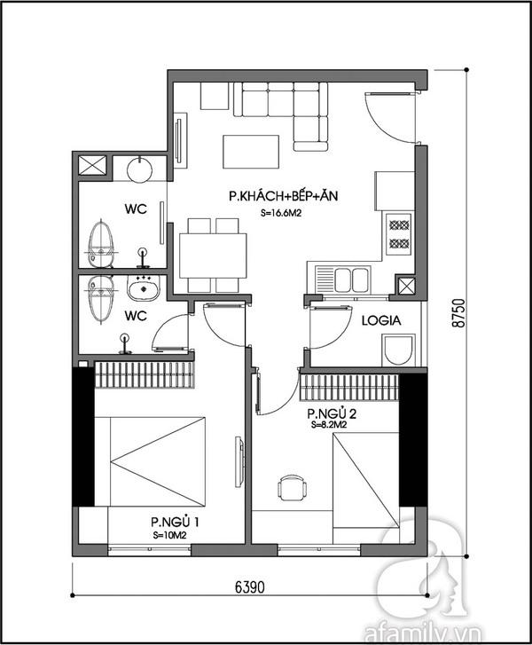 """Tư vấn bố trí nội thất giúp """"hút sáng"""" cho căn hộ 53m²  2"""
