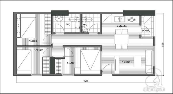 Tư vấn cải tạo nâng từ 2 lên 3 phòng ngủ cho căn hộ 60m² 2
