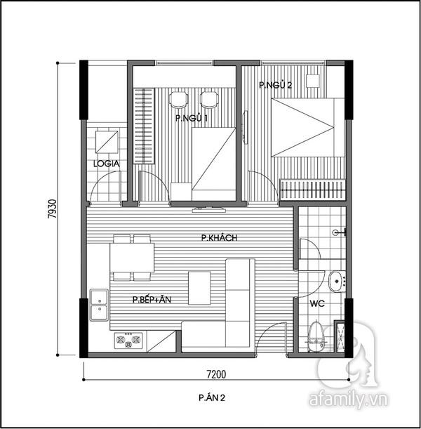 Tư vấn cải tạo căn hộ 56m² 2 phòng ngủ thoáng đãng hơn 2