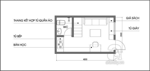 Tư vấn bố trí nội thất cho căn phòng 14m² nhiều đồ đạc 2