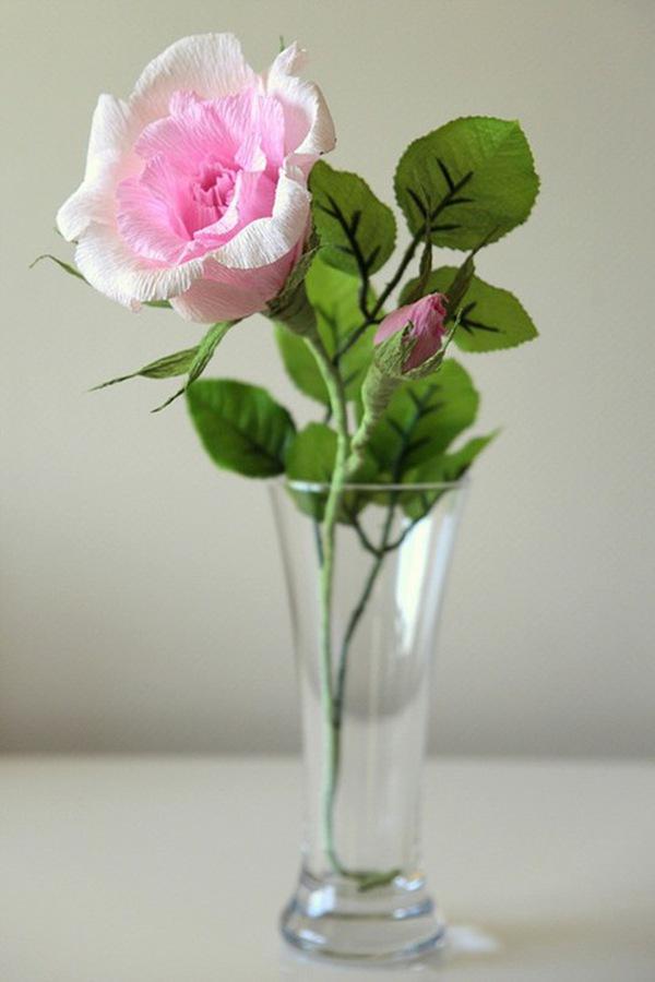 Làm hoa hồng giấy đẹp như hoa thật 14