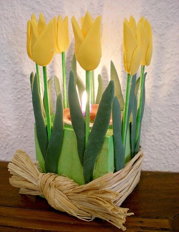 Làm hoa đất sét trang trí cốc nến lung linh đón giờ Trái đất 8