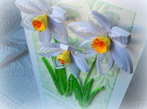 Tự làm thiệp nổi hoa thủy tiên quilling tuyệt đẹp 18