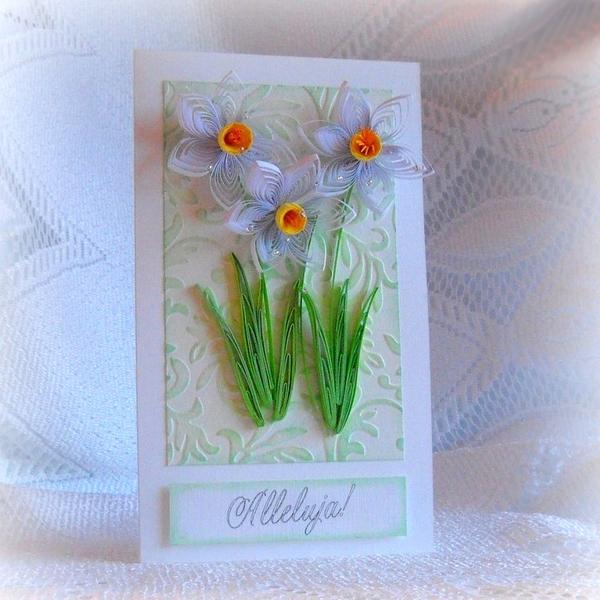 Tự làm thiệp nổi hoa thủy tiên quilling tuyệt đẹp 17