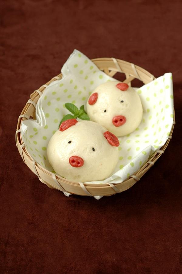 Làm bánh bao ngọt hình chú heo con siêu dễ thương 1