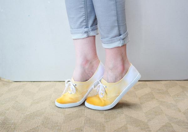 Tự nhuộm giày vải màu loang sành điệu, độc đáo 15