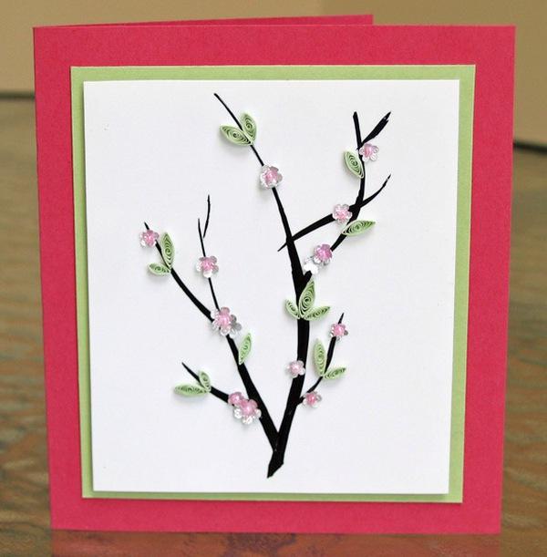 Tự làm thiệp hoa đào gửi cho người thân yêu nhân dịp Tết đến 15