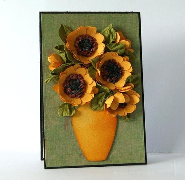 Cách làm hoa hướng dương trang trí thiệp đáng yêu 14