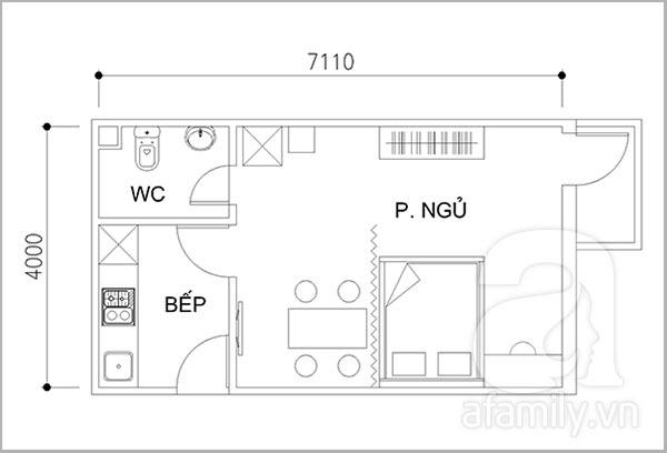 Tư vấn cải tạo căn hộ chung cư 28 mét vuông cho vợ chồng trẻ 2