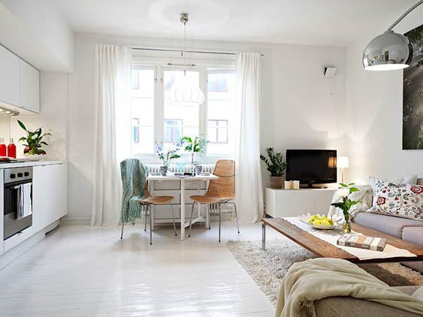 Ấn tượng với cách bài trí độc đáo của căn hộ 40 mét vuông màu trắng 2