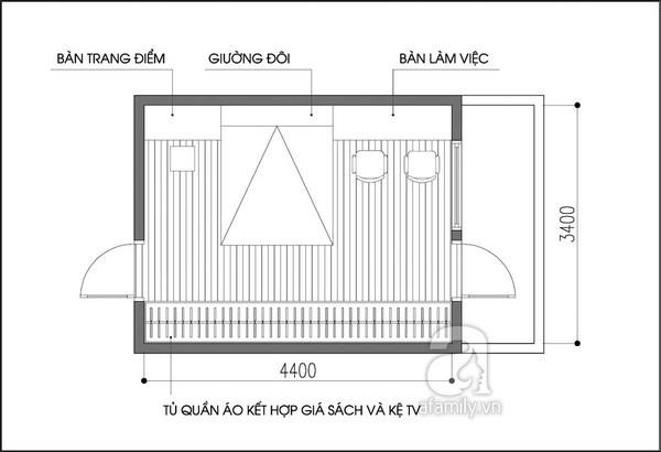 Tư vấn bố trí nội thất phòng ngủ 14m² trẻ trung 2