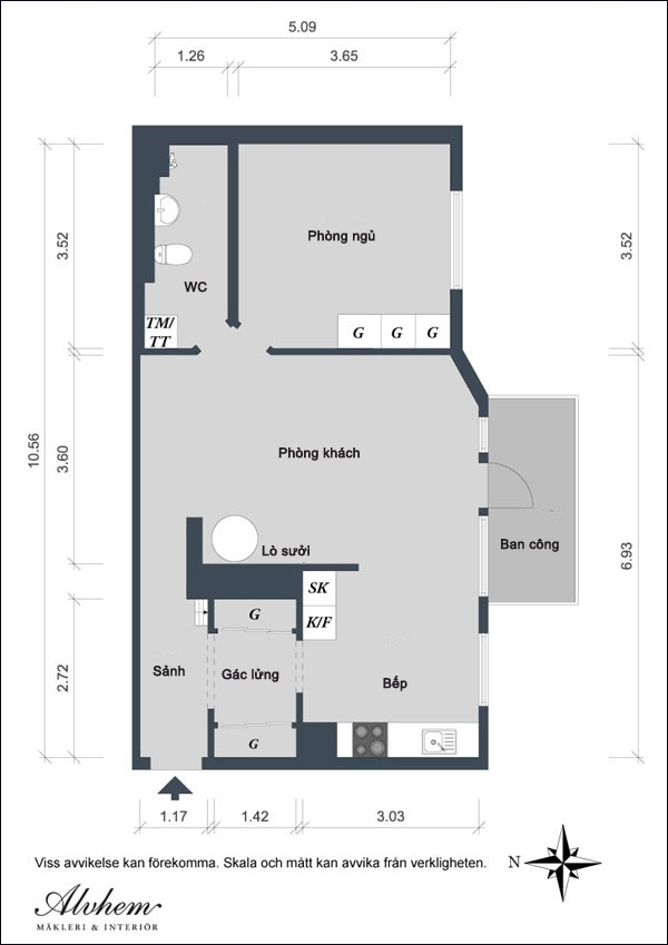 Căn hộ 56m² hai phòng ngủ tuyệt đẹp nhờ khéo bài trí 1